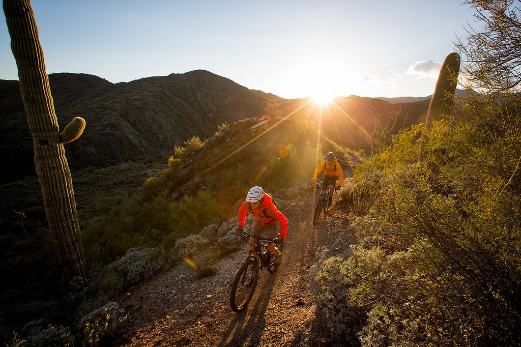 events, law - two cyclists on a mountain trail