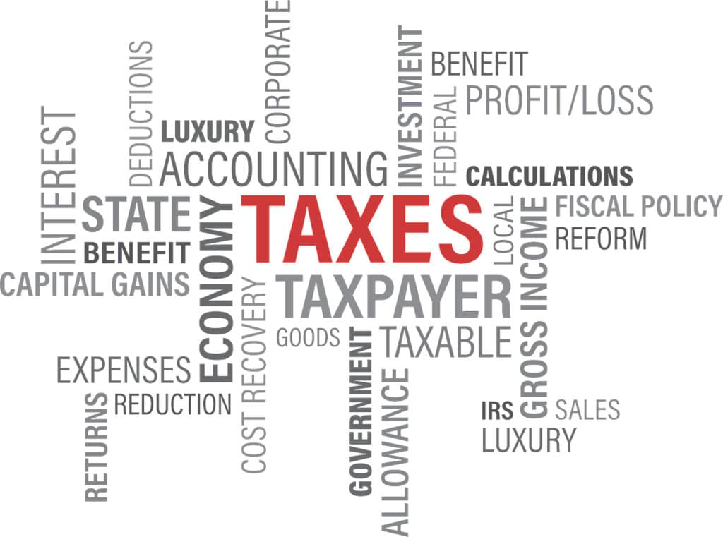 LLC - word cloud of taxes, accounting and related words